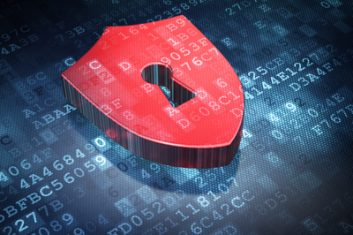 Privacy concept: Red Shield With Keyhole on digital background, 3d render